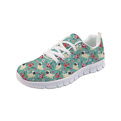 Nopersonality Damen Sportschuhe Laufschuhe Turnschuhe Atmungsaktiv Sneakers Air Sport Casual Shoes Mode Mops Pinke Blume - Größe 41