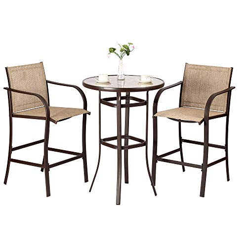 Function Home Patio 3 Piece Bistro Set, Outdoor Bar Set, Round Textured Glass Table and 2 Textilene Bar Stools