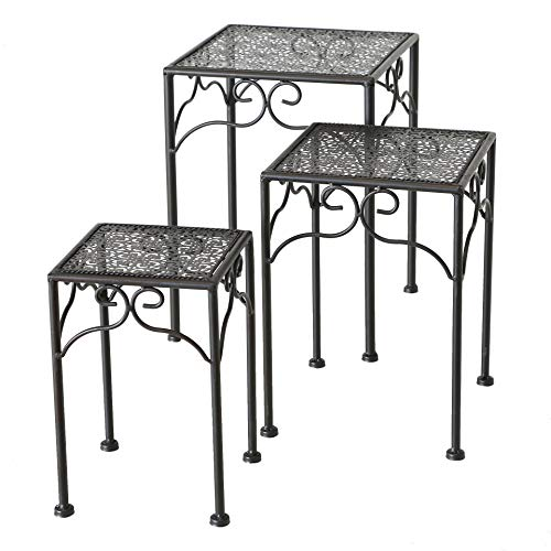 Spetebo Metall Pflanzenständer schwarz - 3er Set - Blumentopfständer Blumenhocker Hocker Beistelltisch eckig