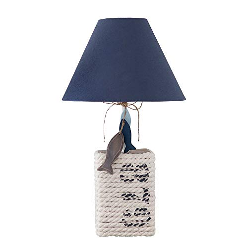 Tischlampe NAUTIC dunkelblau natur mit Seil Tau umwickelt maritime Lampe