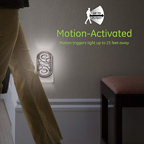 GE Motion-Activated LED Night Light, Oil-Rubbed Bronze Finish, Dusk to Dawn Sensor, Auto On/Off, Energy Efficient, Bright Soft White Light, 11465
