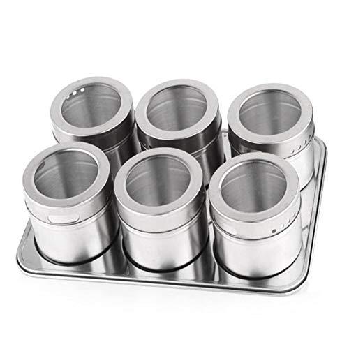 Faneli Juego de 6 tarros de especias de acero inoxidable, con tapa giratoria transparente