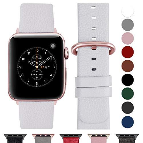 Fullmosa Cinturino per Apple Watch 38 mm/40 mm, Cinturino Pelle Compatibile con Apple Watch Serie 5, Serie 4, Serie 3, Serie 2, Serie 1, Sport, Nike+, Hermès, Edition, Bianca + Fibbia in Oro Rosa