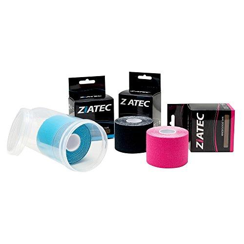 ZiATEC Kinesiologie Tape - 3 Rollen + Schutzdose, Farbe:2 x blau / 1 x pink