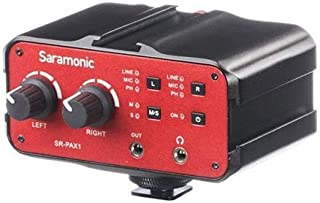 Saramonic 2-Ch Audio Mixer with 3.5mm, XLR & 6.35mm Combo Inputs, Ph Power, Headphone Monitor Jack, Integarted Shoe Mounts for DSLR Audio Mixer Preamp (SR-PAX1)