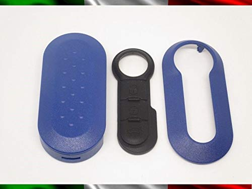 TOPBEST Coque de clé + boutons en caoutchouc pour Fiat 500 Grande Punto Evo Bravo Panda 500L Lancia Y Ypsilon Musa Delta coque bleue