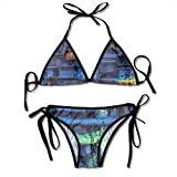 hdghg shop Traje de baño de Las Mujeres Village Lights Houses Painting Women's Bikini Set Swimsuit Bathing Suit Halterneck Triangle Swimwear Two-Piece Suits