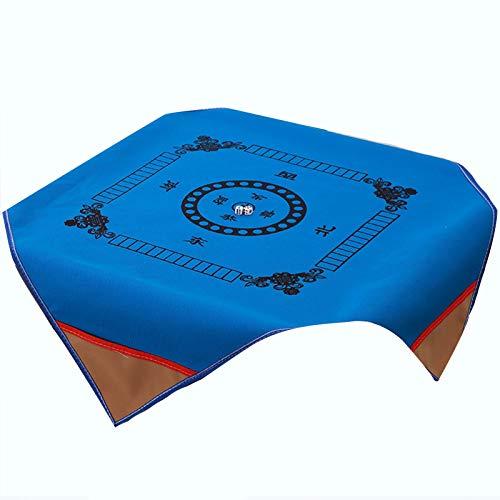 Bilibony Mahjong Matte, Dicke Mahjong Tischdecke, Quadratische Teppichtuch Mit Geldtasche Mahjong-Tisch, Mahjong-Decke-Schachbrett-Raum Rutschfester Haushalt 100 * 100 cm (Color : Blue, Size : 1m*1m)