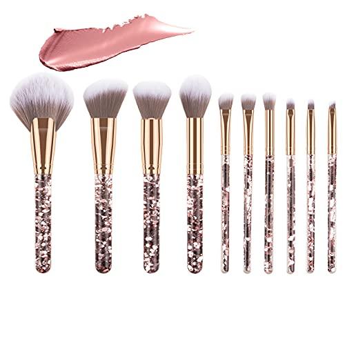 Emibele Juego de Brochas de Maquillaje, 10 PCS Pinceles de Maquillaje con Bolsa de Almacenaje y Mango con Lentejuelas para Sombra de Ojos, Cejas, Mejillas, Herramientas para Mujer Maquillador, Oro