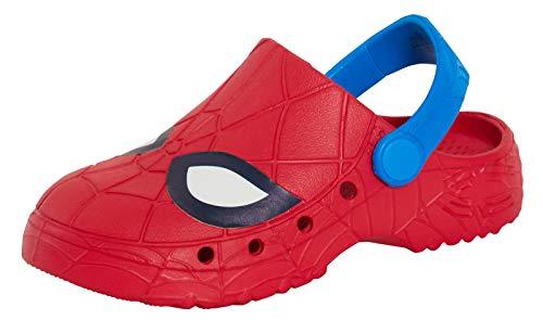 Sabots d'été Spiderman pour garçons - Sandales de plage - Chaussures d'été - Tongs de jardin - Rouge - rouge/bleu, 31/32 EU