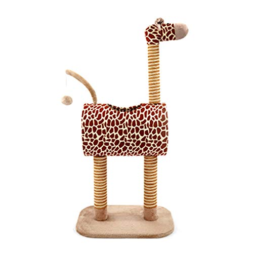 ZJHTK Cat Tree, Giraffe Cat Climbing Frame, Smooth Tunnel, Sisal Grabbing Posts Will Not Hurt Nails, Drop Ball Toy, Breathable