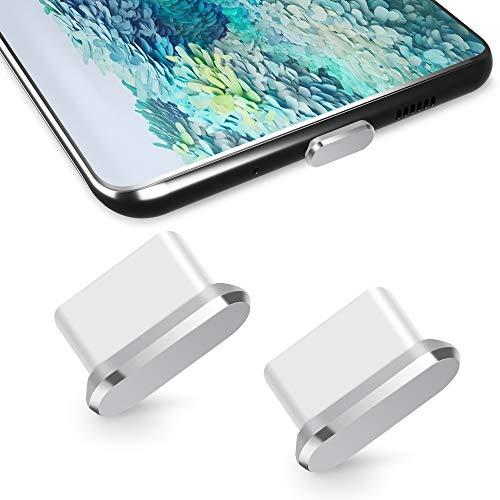 TITACUTE USB Typ C Staubschutz 2 Pack, USB C Staubschutzstöpsel Schutzkappe S20 Staubschutz mit Mini Tragetasche Typ C Staubstecker kompatibel mit Samsung S20 OnePlus Nord 8 7T Pro Xiaomi 10 Silber