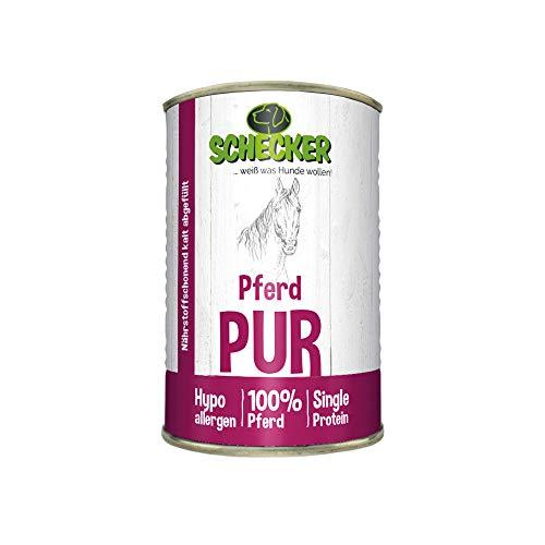 100% Pferd pur 6x820g Pferdefleisch und wertvollen Innereien, wie Leber, Lunge, Magen etc in Dosen Nassfutter für den Hund nur 4,7 % Fett Dieses Hundefutter ist ohne jegliche Chemie Ideal zum Barfen