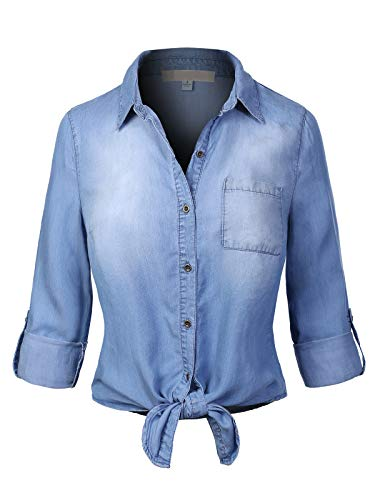 Design by Olivia Women's Tie Front Roll Up Sleeve Crop Chambray Denim Shirt Blue L