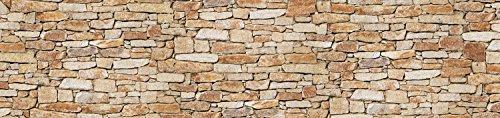 wandmotiv24 Küchenrückwand Natursteinmauer Hell 260 x 60cm (B x H) - Hartschaum 3mm Nischenrückwand Spritzschutz Fliesenspiegel-Ersatz M0310