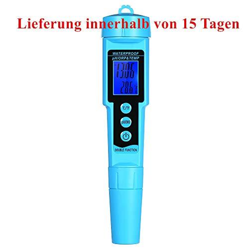 sazoley Professionelle 3 in 1 pH/ORP/Temp Messgerät Wassermelder Multiparameter Digital LCD Tri-Meter Multifunktionsmonitor für Wasserqualitätsmonitor