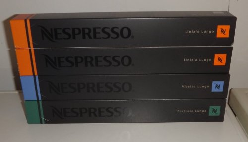 40 cápsulas Nespresso Lungo Mixto Pack Variedad de 20x Linizio, 10x Fortissio, 10x Vivalto