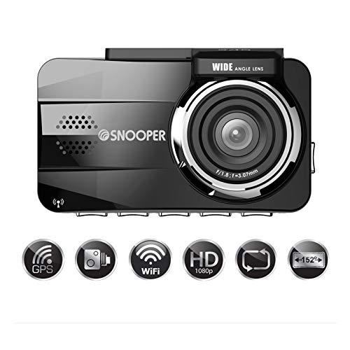 Snooper DVR-4HD G3 Dash Cam with 3' LCD Screen - Wide Angle, GPS And Wifi Enabled, 1080p Full HD...