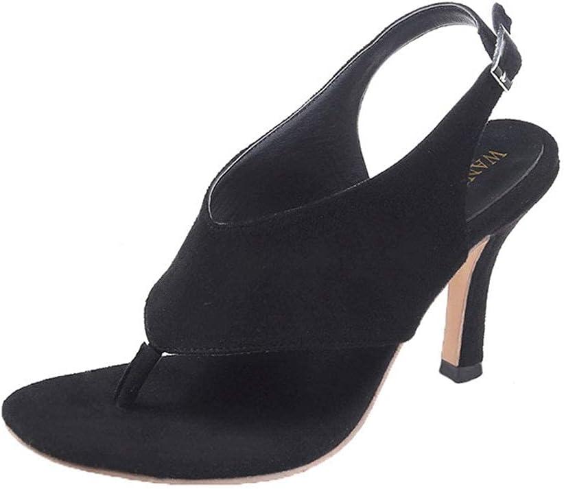 PARTAS Vacation Must Haves Ladies Womens Heel Party Sandals Prom Shoes,Summer Casual Vintage Sandals Retro Casual Comfy Ladies Summer Sandals Beach Flip Flops (Color : Black, Size : 39 M EU)
