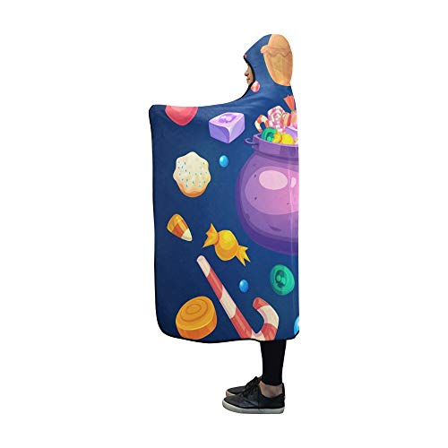 Plsdx Mit Kapuze Decke Happy Halloween Set Bunte Halloween Süßigkeiten Decke 60 x 50 Zoll Comfotable Hooded Throw Wrap