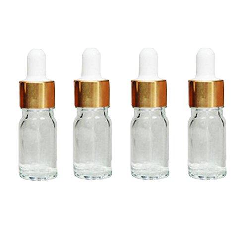 4pcs verre compte-gouttes bouteilles-huile essentielle maquillage parfum cosmétique oeil contenants de stockage de liquides avec une pipette en verre (transparent) (5ml)