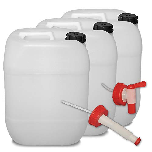 plasteo 3er Set: 20 Liter Getränke- Wasserkanister Natur mit Hahn, Schraubdeckel und flexiblem Ausgießer (DIN 61) | Lebensmittelecht | Tragbar | Indoor und Outdoor | BPA Frei
