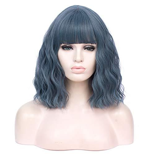obtener pelucas mujer pelo natural rizado azul corto online