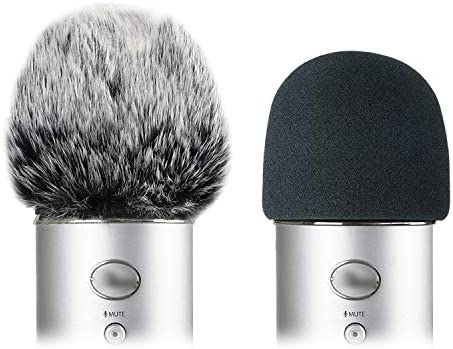 Foam Microphone Windscreen with Furry Windscreen Muff Mic Wind Cover Pop Filter for Blue Yeti product image