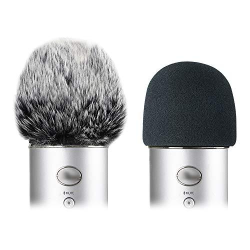 Foam Microphone Windscreen with Furry Windscreen Muff - Mic Wind Cover Pop Filter for Blue Yeti, Blue Yeti Pro USB Microphone (2 Pack)