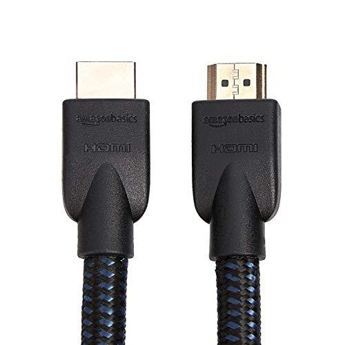 AmazonBasics Nylon-Braided 4K, 18Gbps HDMI to HDMI Cable, 15 Feet