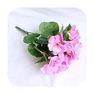 Silk Flower Arrangements F-pump Artificial Flowers Artificial Begonia Flowers Silk Fake Hydrangea Flower Home Office Wedding Decoration-23Cm Pink-