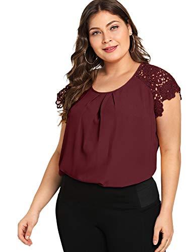 Romwe Women's Plus Size Short Sleeve Round Neck Lace Hollow Elegant Blouse Burgundy 3X Plus
