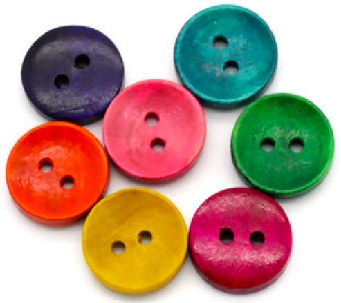 Handarbeit-Lieblingsladen 100 Stück Holzknöpfe bunt im Mix 15mm 2-Loch r& farbige Knöpfe basteln