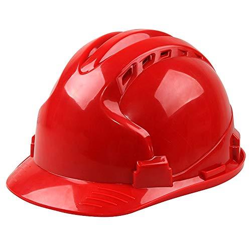 LIAN Atmungsaktive Schutzhelm, ABS Schutzhelm for Anti-Smashing On Site, Einstellbarer Knopf-Typ Cap Hoop, verwendet in BAU, Elektrische Energie und andere Industrien (Color : Red)