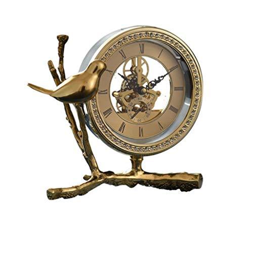 kerryshop Reloj Despertador Luz de Lujo Moda Creativa Reloj de Cobre Puro Americano Moderno de Lujo Reloj de Cobre Puro Gear Bird Decoración Reloj Estudio Sala de Estar Reloj de Escritorio