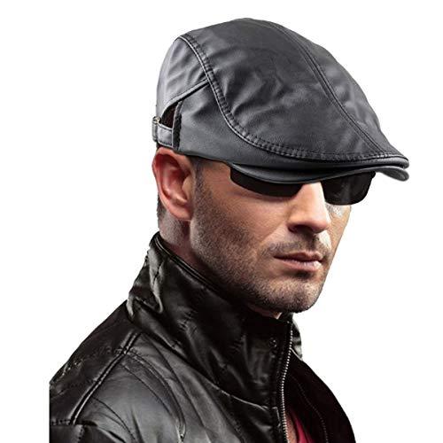 Samtree Men's Classic Newsboy Cap,PU Leather Gatsby Ivy Flat Golf Driving Hat(01-Black)