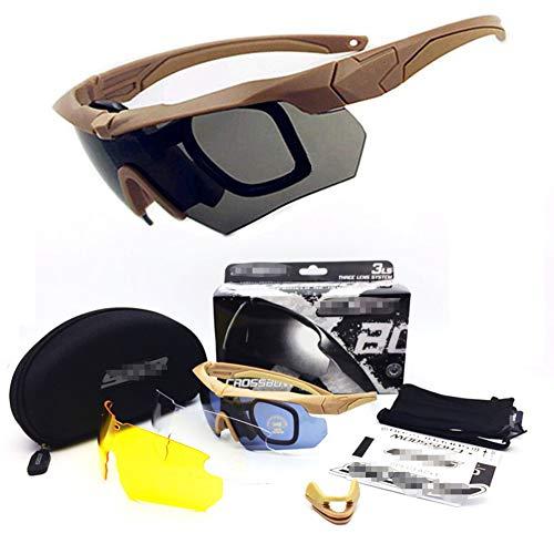 WLXW Tactical Military Sonnenbrille, 4 Wechselobjektivbrillen, Airsoft Paintball-Schutzbrille Für Herren, Outdoor-Sportarten Wandern Camping Motorrad-Reitbrillen,Tan
