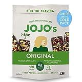 JOJO's Dark Chocolate Bars Made with Hemp, Plant Based Protein, Low Sugar, Low Carb, Vegan, Paleo & Keto Friendly, Healthy Snack, Original, 8.4oz Bag (7 Bars)