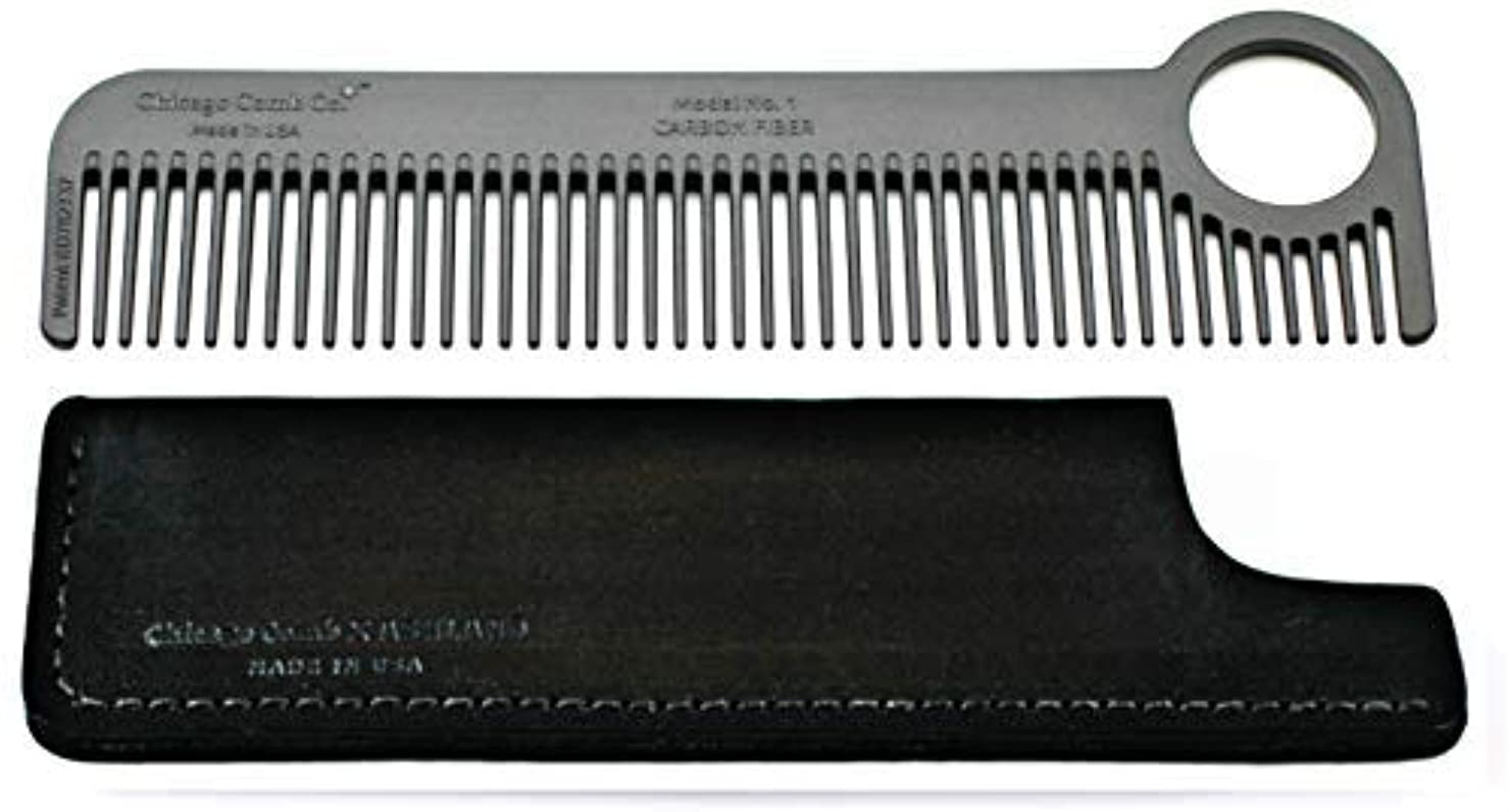 つづりメッセージクリープChicago Comb Model 1 Carbon Fiber Comb + Dublin Black Horween leather sheath, Made in USA, ultimate pocket and travel comb, ultra smooth strong & light, anti-static, premium American leather sheath [並行輸入品]