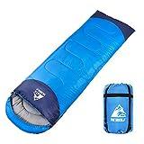 HEWOLF寝袋 封筒型 190T防水シュラフ 軽量 保温 連結可能アウトドア 丸洗い可能 コンパクト オールシーズン スリーピングバッグ キャンプ 登山 車中泊 防災用 収納袋付き 1.3KG 1.6KG 1.8KG 快適温度15度-5度 (ブルー, 1.3kg-左)