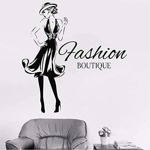 WANGHH Moda mujer diseño vinilo pegatina niñas moda ropa Boutique ventana tienda salón pared calcomanía Gil dormitorio calcomanía 57x60cm