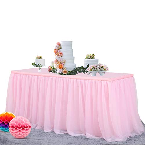 NSSONBEN 14FT Pink Tulle Table Skirt Fluffy and Elegant Tutu Table Skirting for Wedding Birthday Party Baby Shower Gender Reveal Home Decor (L168in×H30in)