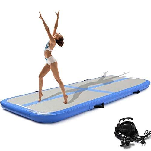 Minetom 300CM Aufblasbare GymnastikTumbling für Tumbling,mit Pumpe Geeignet für Gymnastik, Yoga, Training und Parkour zu Hause,10 cm hoch (Blau)