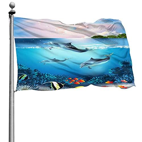 Hermoso mundo submarino 3D con bandera de peces delfines 4x6 pies Bandera decorativa al aire libre Bandera estándar colgante exterior