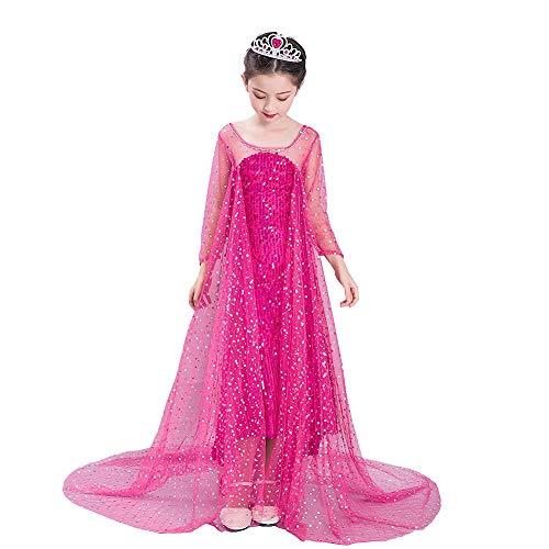 Lito Angels Mädchen Prinzessin ELSA Eiskönigin Schneeprinzessin Kleid Kostüm Geburtstag Weihnachten Halloween Party Verkleidung Karneval Cosplay 5-6 Jahre Heißes Rosa