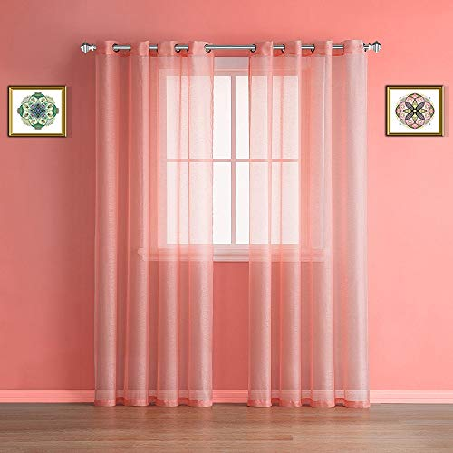 """Warm Home Designs Pair of 2 Long Size 54"""" (Width) x 108"""" (Length) Light Orange (Peach) Color Sheer Window Curtains. 2 Elegant Voile Panel Drapes are 108 Inch Wide Total - K Coral 108"""""""