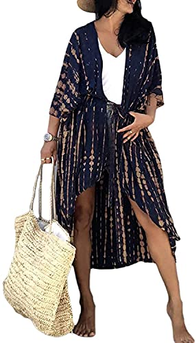 Orshoy Damen Baumwolle Kimono Cardigan Bikini Cover Up Strandpocho Strandkleid,Boho Beachwear Kleid Leichte Strand Jacke für Urlaub Strand Einheitsgröße Navyblau