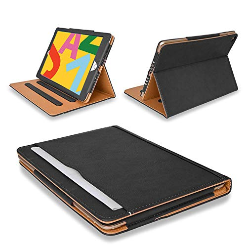 """MOFRED New Black & Tan Apple iPad 10.2""""- 7th Gen 2019 / 8th Gen 2020 Leather Case-with Built-in magnet for Sleep & Awake Feature - Independently Voted by'The Daily Telegraph' as #1 iPad Case!"""