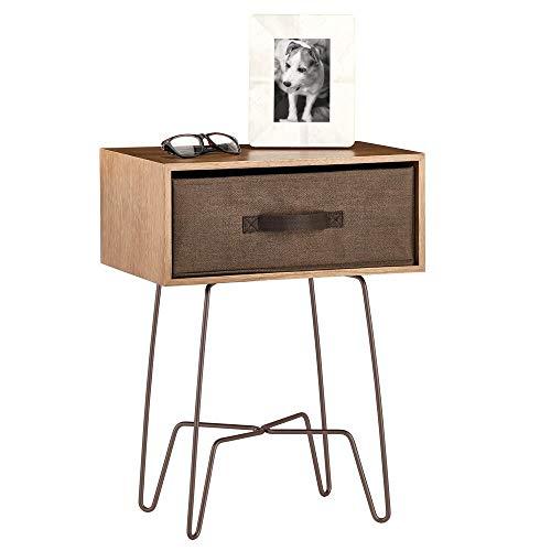 mDesign Mesita auxiliar de madera y metal pequeña – Elegante mesa auxiliar vintage para el salón o el dormitorio – Mesa de centro con moderno diseño de horquilla – marrón