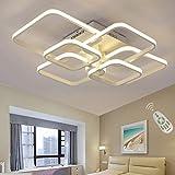 Lámpara de techo rectangular LED para comedor, comedor, salón, lámpara regulable con mando a distancia 3000 K - 6500 K, moderna, para el salón, el dormitorio, el baño, el pasillo, Blanco, L78cm